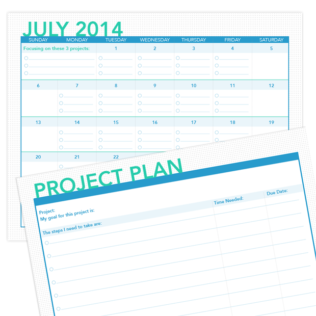 Printable: July Calendar and Project Planner - Jewels Branch