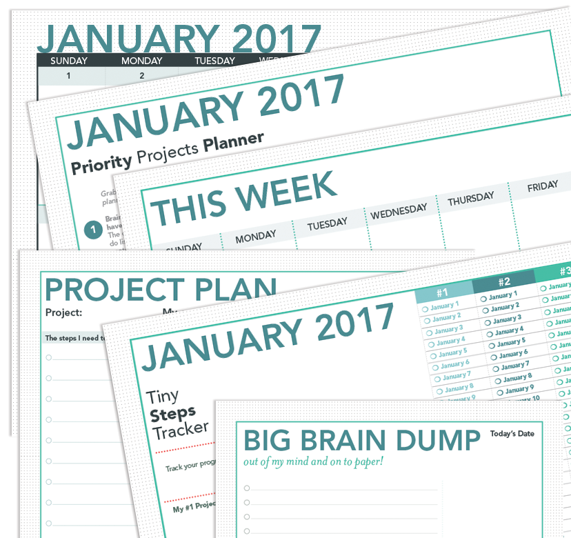 printable project planner and calendar january 2017 jewels branch